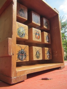 Stink Bug Nymphs _ acryl on wooden blocks